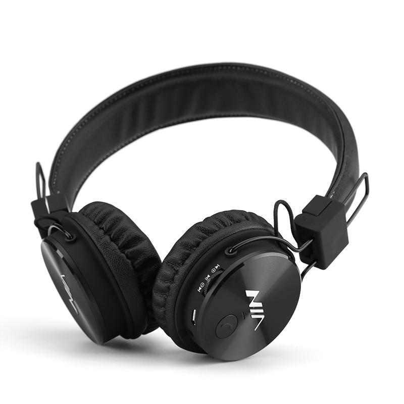 NIA X3 Sluchátka Bluetooth - 40 mm HD ovladače, FM rádio, slot SD karty, bezdrátová sluchátka, černá