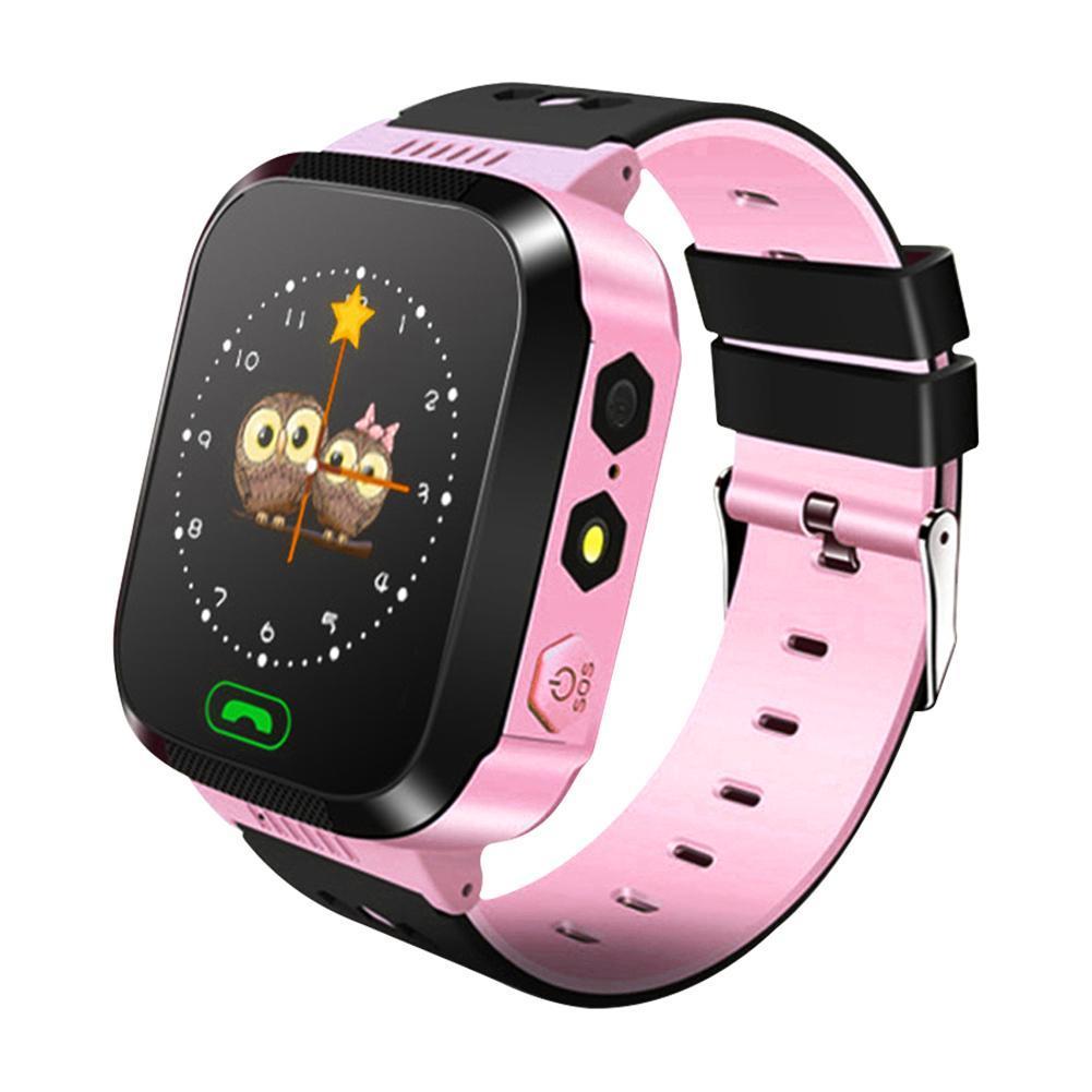 Femperna Q528 Y21 Dětské GPS inteligentní hodinky s telefonem,osvětlení,kamera,SOS, černá-růžová