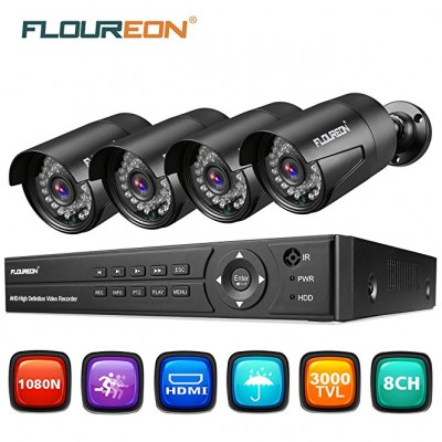 FLOUREON KA6108IH4N-A628C-UK, 1 X DVR rekordér + 4 x venkovní kamera 1080P 2.0MP (až 8 kamer), černá