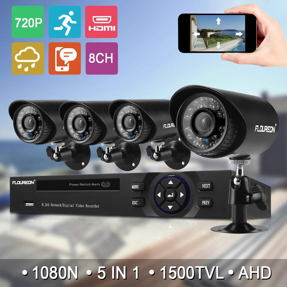 FLOUREON HA-3804K-YZ720, DVR + 4 x venkovní 720P kamera, bezpečnostní systém, barva černá