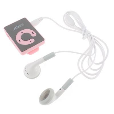 Zrcadlový přehrávač MP3 s možností TF, klip, růžová