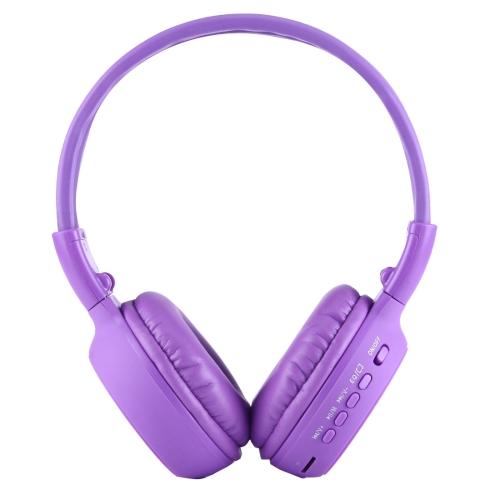 Zealot® BS-N65, Skládací stereo Hi-Fi Bezdrátová WiFi sluchátka s LCD obrazovkou, fialové