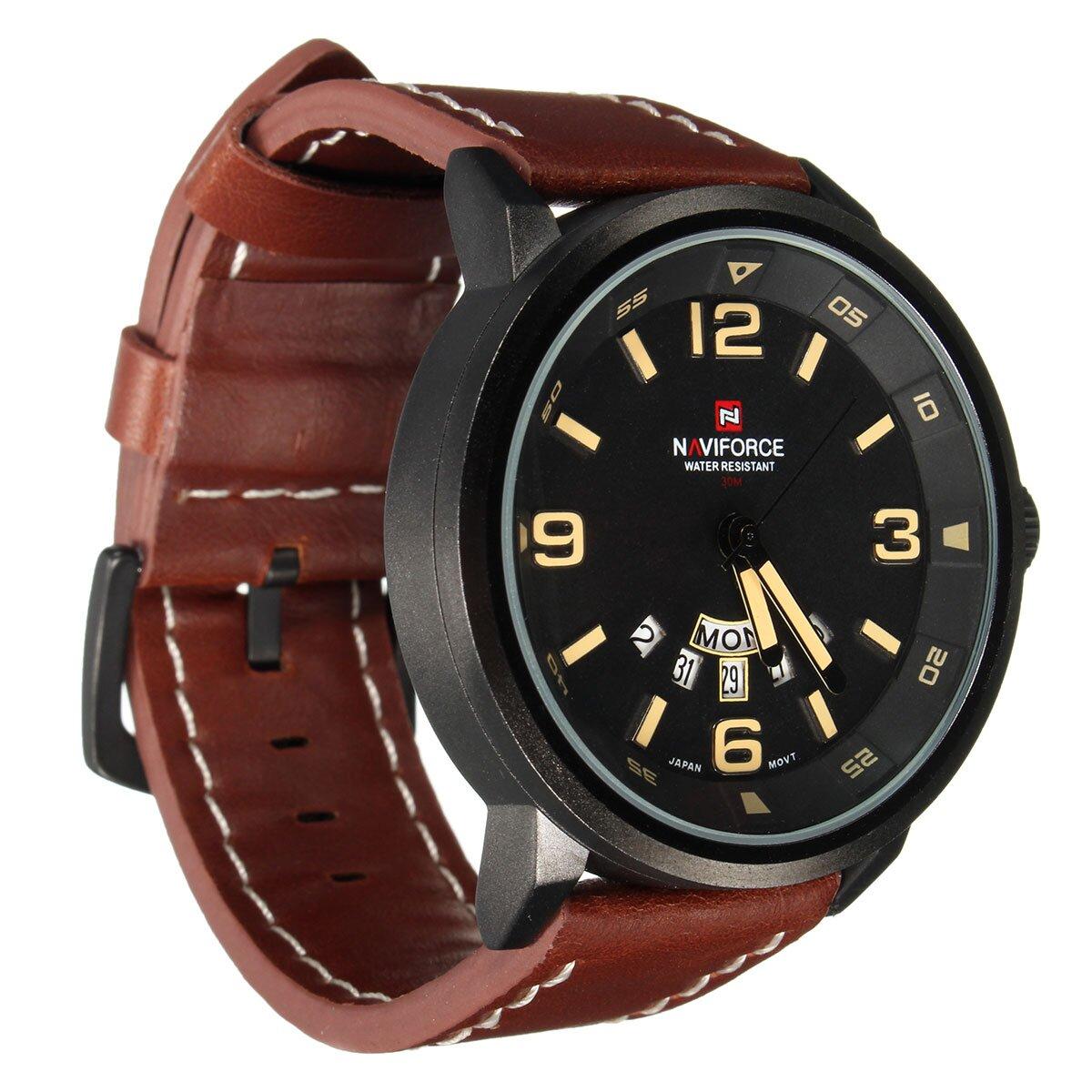 Naviforce 9028 Pánské hodinky hnědé 7af25f3685