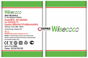 Wisecoco Baterie pro DOOGEE T5 / T5 LITE / T5S, 5000mAh